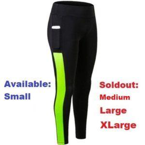 Black leggings with pocket - lime green stripe